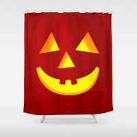 pumpkin Shower Curtains featuring Pumpkin by Emir Simsek