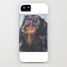 long haired Dachshund art portrait from an original painting by L.A.Shepard iPhone Case