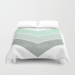 MINT TEAL GRAY CONCRETE CHEVRON Duvet Cover