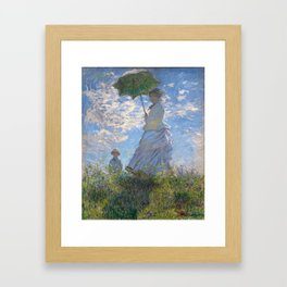 1875-Claude Monet-Woman with a Parasol - Madame Monet and Her Son-81 x 100 Framed Art Print