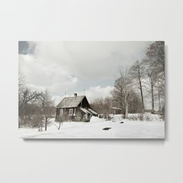 dilapidated wooden house cottage in winter Metal Print