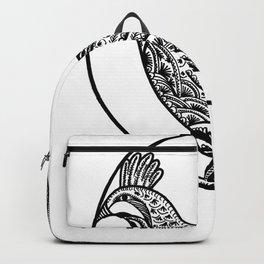 Chicken Boho Black ink Paisley art Backpack