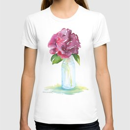 Rose in a Glass Vase Watercolor T-shirt