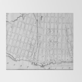 Vintage Map of Williamsburg Brooklyn (1827) Throw Blanket