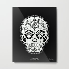 Día de Muertos Calavera • Mexican Sugar Skull – White on Black Palette Metal Print