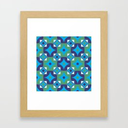 Circle and squares mosaic pattern in blue and green Framed Art Print