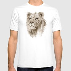 A Lion :: Without Pride MEDIUM White Mens Fitted Tee