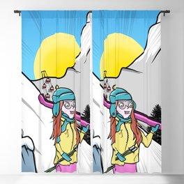 Skiing Switzerland Cartoon Blackout Curtain