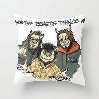 beastie boys Throw Pillows featuring Where The Beastie Things Are by Derek Salemme