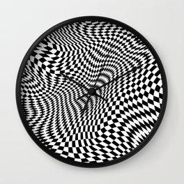 Warped Black and White Checker Pattern Wall Clock