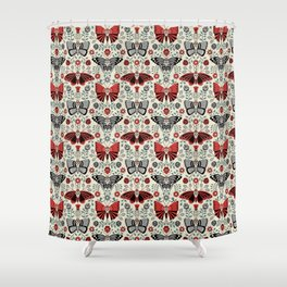 Gothic Halloween with butterflies and skulls and flowers on a light background Shower Curtain