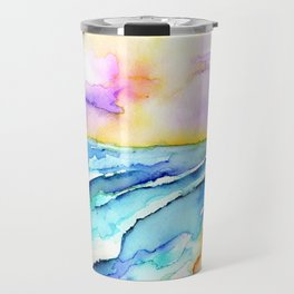 violet clouds - beach at sunset Travel Mug