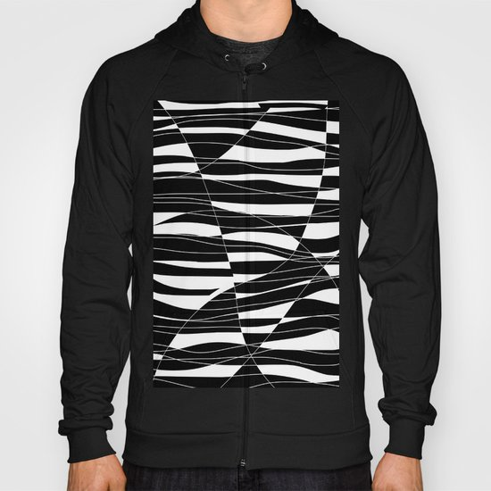 Carved Black and White Wave Hoody