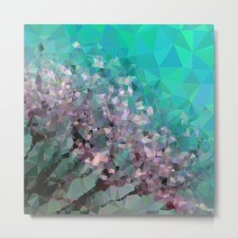 Geometric Purple/White Dandelion Flower Metal Print