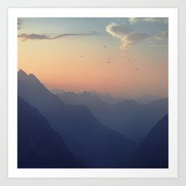 Misty Mountain Sunrise - Swiss Alps Art Print