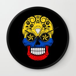 Sugar Skull with Roses and Flag of Colombia Wall Clock