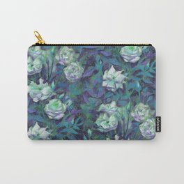 White roses, blue leaves Carry-All Pouch