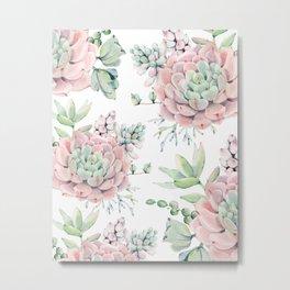 Pretty Pink Succulents Garden Metal Print