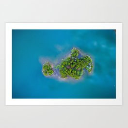 Turquoise Waters with Island Art Print