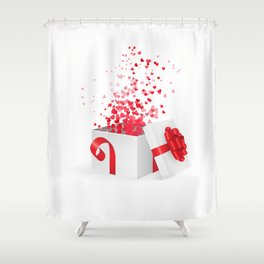Opening gift box for Valentines day Shower Curtain