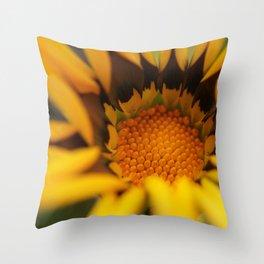 Yellow in macro flower Throw Pillow