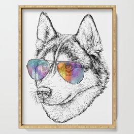 Husky Dog Graphic Art Print. Husky in glasses Serving Tray