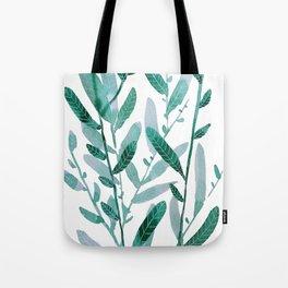 greeen water color leaves Tote Bag