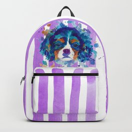 The cavalier king Charles Spaniel portrait in blue Backpack
