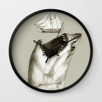 shark Wall Clocks featuring shark by Кaterina Кalinich