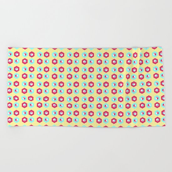 Pink and blue unidimensional cubes Beach Towel