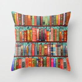Vintage Books / Christmas bookshelf & holly wallpaper Throw Pillow