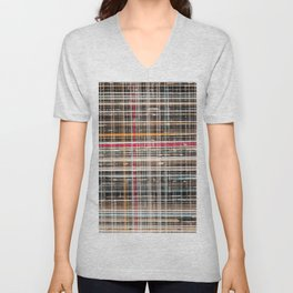 structure with red lines Unisex V-Neck