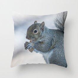 Winter squirrel Throw Pillow