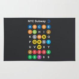 New York City subway alphabet map, NYC, lettering illustration, dark version, usa typography Rug
