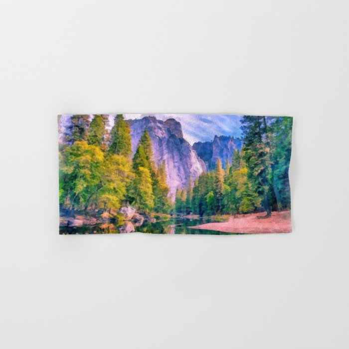 Mountain landscape with forest and river Hand & Bath Towel