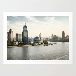 Shanghai skyline on the Huangpu River, China Art Print