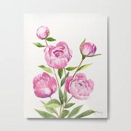 Peonies Watercolor Metal Print
