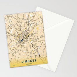 Limoges Yellow City Map Stationery Cards