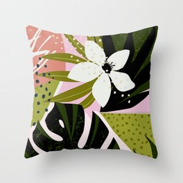 Tropical Flowers and Foliage 1940s Hollywood Bungalow Style Throw Pillow