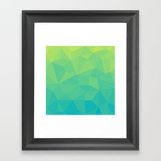 Abstract Geometric Gradient Pattern between Soft Green and Strong Cyan Framed Art Print