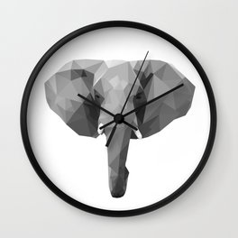 Polygonal elephant portrait Wall Clock