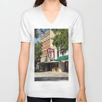 cafe V-neck T-shirts featuring City Cafe by Yellow Tie