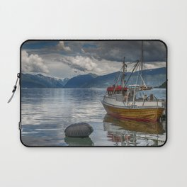 fishing boat in the harbor of Vik at the sognefjord in Norway Laptop Sleeve