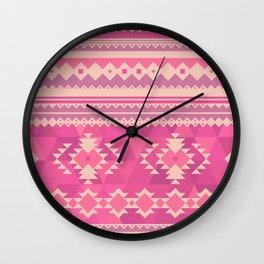 Pink Aztec Wall Clock