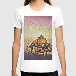 France Le Mont-Saint-Michel Artistic Illustration Red Abstract Style T-shirt