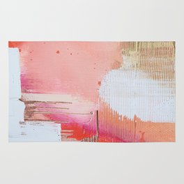 Moving Mountains: a minimal, abstract piece in reds and gold by Alyssa Hamilton Art Rug