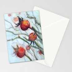 Rose Hips Abstract Watercolor Nature Stationery Cards