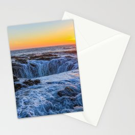Thors Well sunset Pacific Ocean Cape Perpetua sea waves Lincoln County Oregon USA America Stationery Cards