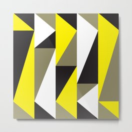 Geometric Pattern 58 (yellow black triangles) Metal Print
