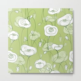 Stylized Poppies - green Metal Print